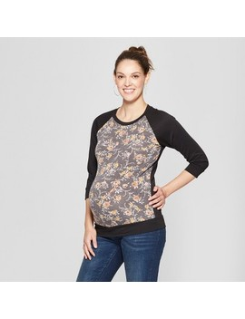 Maternity Floral Print 3/4 Sleeve Novelty Baseball Sweatshirt   Ma Cherie   Black by Ma Cherie