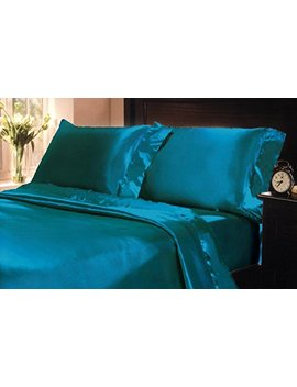 Mk Collection 2pc Soft Silky Satin Solid Color King Size Pillow Cases Set (2 King Pillow Cases, Turquise) by Mk Home Llc