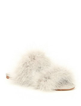 Fluffee Fem Feather Double Band Slide Sandals by Gianni Bini