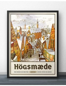 Hogsmeade Travel Poster   Vintage Retro Style   Inspired By Harry Potter by Etsy