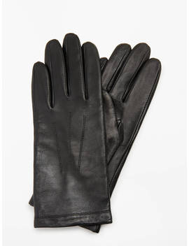 John Lewis & Partners Leather Fleece Lined Gloves, Black by John Lewis &Amp; Partners