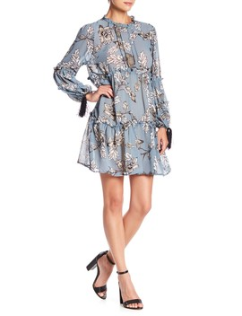 Floral Print Ruffle Dress by Aiden