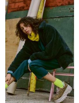 Uo – Blouson ZippéEn Molleton Vert by Urban Outfitters
