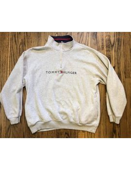 Vtg Tommy Hilfiger Spellout Mens Half Zip Fleece Pullover Sweater Size Xl by Tommy Hilfiger
