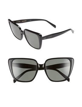 57mm Modified Square Cat Eye Sunglasses by CÉline