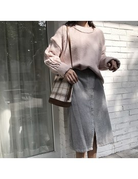 2018 Autumn Thick Corduroy Skirts Mid Calf Fashion Winter Slim High Waisted Retro Skirt Long  by Ali Express