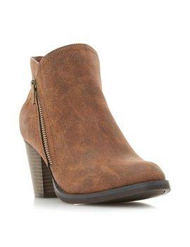 Head Over Heels By Dune   Tan 'pintos' Mid Block Heel Ankle Boots by Head Over Heels By Dune