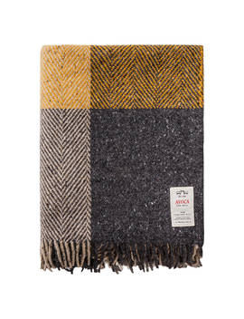 Avoca Heavy Herringbone Check Wool Throw, Peat by Avoca