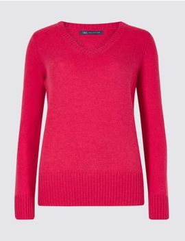 Lambswool Rich Textured V Neck Jumper by Marks & Spencer