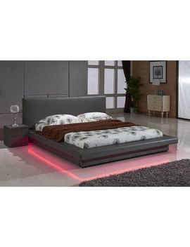 Grey Leather With Led Decoration Strip Light Contemporary Platform Bed by Us Pride Furniture