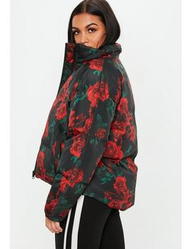 Black Rose Print Puffer Jacket by Missguided