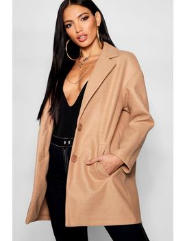 Button Through Collared Wool Look Coat by Boohoo