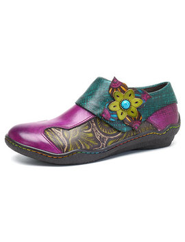 Socofy New Printing Splicing Plant Pattern Hook Loop Flat Leather Shoes by Newchic
