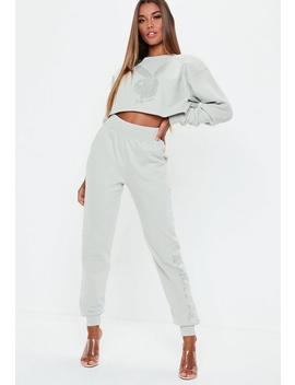 Playboy X Missguided Grey Side Logo Joggers by Missguided