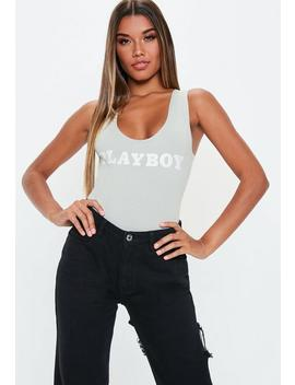 Playboy X Missguided Grey Slogan Thong Bodysuit by Missguided