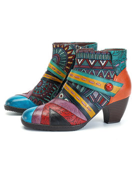 Socofy Bohemian Color Match Splicing Pattern Zipper Ankle Leather Boots by Newchic