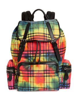 Large Tie Dye Print Vintage Check Nylon Rucksack by Burberry