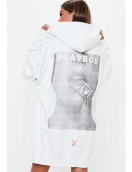 Playboy X Missguided White Magazine Oversized Sweater Dress by Missguided