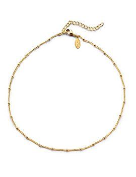 "Benevolence La Choker Necklace In 14 K Gold Dipped Or Sterling Silver: Satellite Beaded Curb Chain 1mm Necklaces For Charity (13"" To 15"") by Benevolence+La"