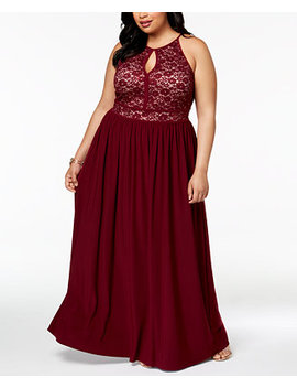 Trendy Plus Size Lace Bodice Gown by Morgan & Company