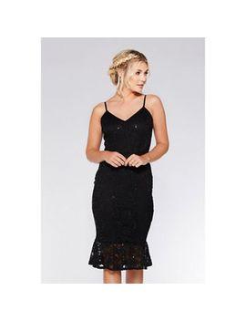 Quiz   Black Lace Sequin Frill Hem Midi Dress by Quiz