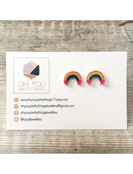 Rainbow Earrings   Rainbow Studs   Rainbow Gift   Rainbow Colours   Stud Earrings   Cute Earrings   Summer Earrings   Quirky Earrings by Etsy
