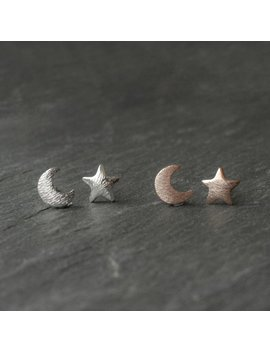 Rose Gold  Silver Moon Star Earrings  Matte Silver Plated Jewellery  Bohemian Crescent Vintage Style Studs Witchy Boho Hippy Brushed Metal by Etsy