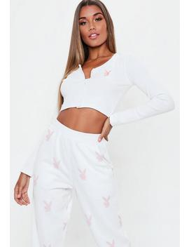 Playboy X Missguided White Ribbed Crop Top by Missguided