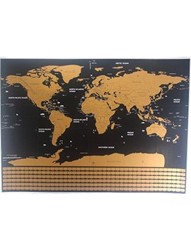 Scratch Off World Map Premium Quality Large Wall Decoration Poster Gold Deluxe Thick Travel Detailed Outlined U.S. States And All Country Flags Perfect Gift Comes With Scratch Tool And Wiping Cloth by Scratch The World