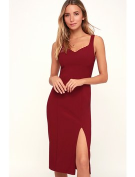 Take Me Out Tonight Burgundy Midi Dress by Lulus