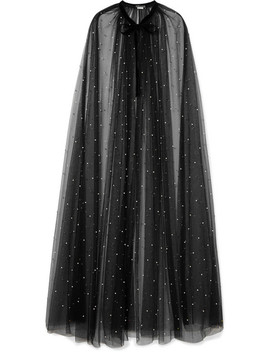 Velvet Trimmed Faux Pearl Embellished Tulle Cape by Monique Lhuillier