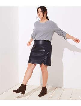 Loft Plus Faux Leather Wrap Skirt by Loft