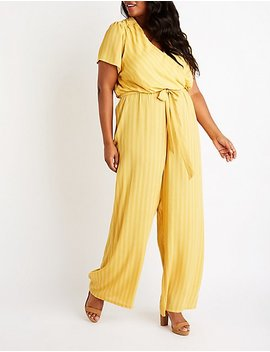 Plus Size Stripe Surplice Jumpsuit by Charlotte Russe