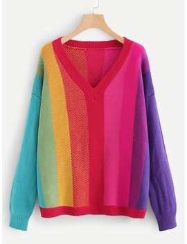 Plus Color Block Drop Shoulder Sweater by Shein