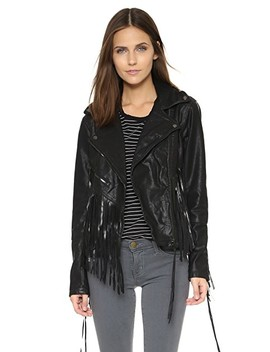 Vegan Leather Fringe Jacket by Blank Denim