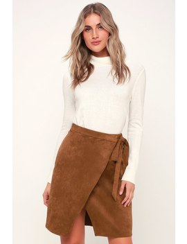 Head Babe In Charge Light Brown Suede Wrap Skirt by Lulus