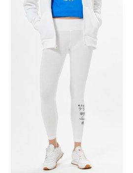 Reebok White Graphic Leggings by Pacsun