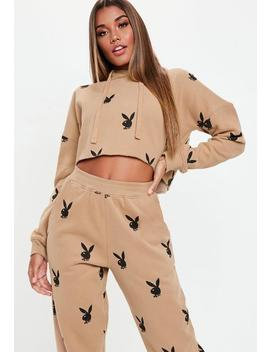 Playboy X Missguided Tan Playboy Repeat Print Cropped Hoodie by Missguided