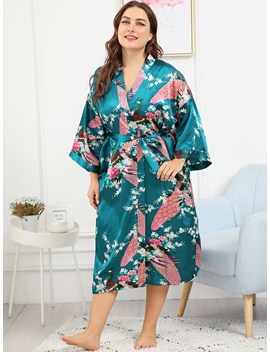 Plus Peacock & Floral Print Self Belted Robe by Sheinside