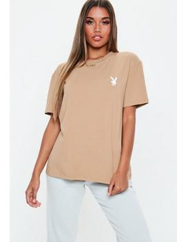 Playboy X Missguided Tan Oversized T Shirt by Missguided