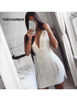 Women Tassel Sexy White Bodycon Dress V Neck Strappy Party Nightclub Chic Fringe Bandage Dress Ladies Backless Summer Dress 2018 by Fabcharmax