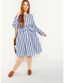 Plus Self Belted Striped Dress by Shein