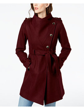 Asymmetrical Belted Wool Wrap Coat by Guess