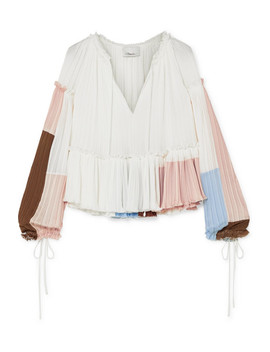 Pleated Color Block Crepe Blouse by 3.1 Phillip Lim
