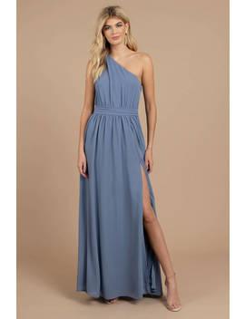 Keri Slate One Shoulder Maxi Dress by Tobi