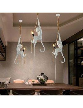 Monkey Resin Hemp Rope Pendant Light Industrial Retro Chandelier Ceiling Lamp by Unbranded