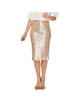 Dorothy Perkins   Rose Gold Sequin Embellished Pencil Skirt by Dorothy Perkins