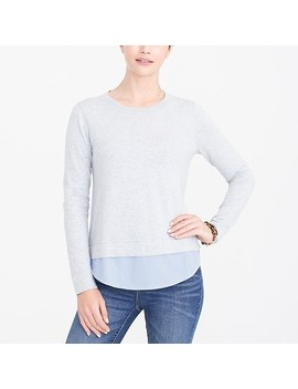 Sweater With Woven Hem by J.Crew