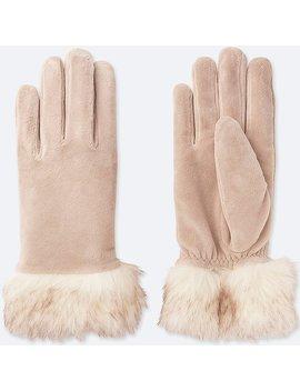 Women Heattech Faux Shearling Cuffs Gloves by Uniqlo