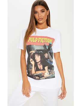White Pulp Fiction Slogan T Shirt by Prettylittlething